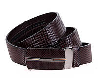 Износостойкий мужской кожаный ремень классический 3,2 см коричневый