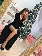 Платье в пол из бархата, цвета