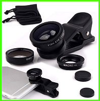 Комплект универсальных линз для смартфона широкоуголный/макро-обьектив/рыбий глаз SuperSelfie (черный)