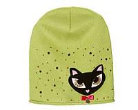 Детский модний демисезонный комплект шапка и снуд для девочки Зеленый, 49-56