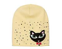 Детский модний демисезонный комплект шапка и снуд для девочки Бежевый, 49-56