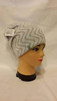 Двхсторонняя шапка Эльзас 4411 белый и светло серый, фото 2