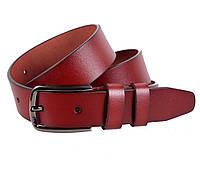 Надежный мужской классический кожаный ремень 3,2 см коричневый