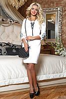 Роскошное Нежное Платье с Вышивкой на Рукавах Молочное M-2XL