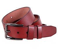 Повседневный мужской кожаный ремень 4 см в джинсы коричневый