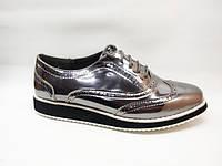Туфли серебристые шнурок Т701 р 40,41
