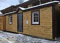 Модуль дом 7х2,3м Распашонка с перегородками, козырьком и арочными окнами