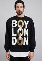 Свитшот мужской черный с золотым принтом Boy London