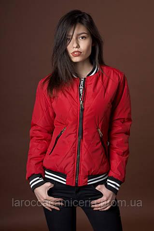 Женская демисезонная куртка бомбер. Код модели К-90-37-17. Цвет яркий винный.