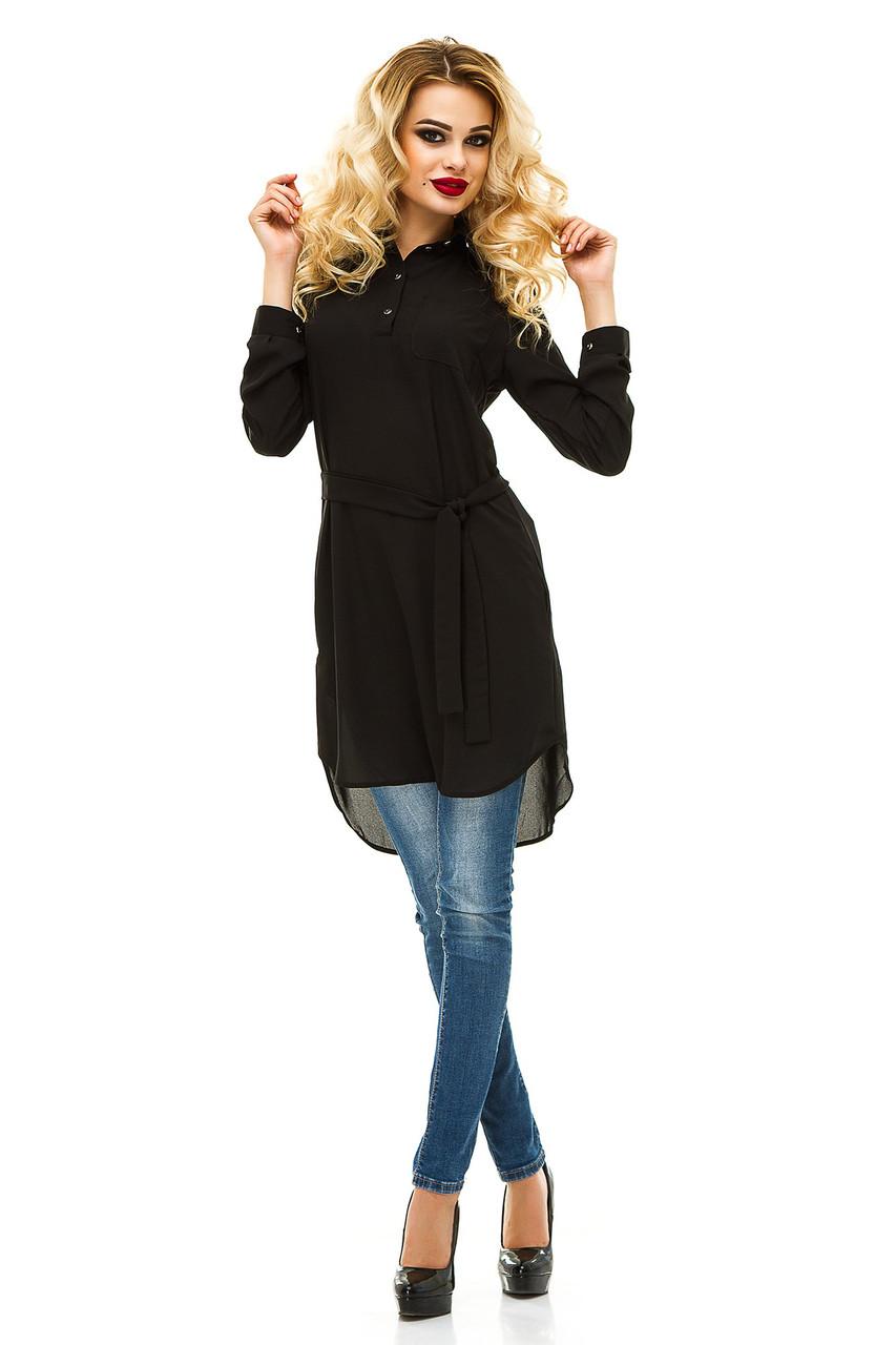 Платье- рубашка 231 черная креп-шифон