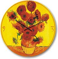 Часы настенные из стекла - подсолнухи Ван Гог (немецкий механизм)
