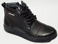 Детские ботинки черные на толстой подошве, детская обувь от производителя модель ДЖ - 6001
