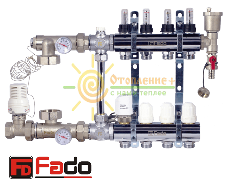 Коллектор для теплого пола FADO на 12 контуров