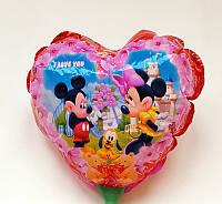 Шарик воздушный, фольгированный на палочке в форме сердца