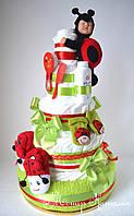 """Торт из памперсов """"Мое солнышко"""". Лучший подарок новорожденному. 120 шт."""