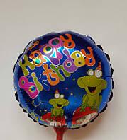 Воздушные шарики фольгированные на палочке КРУГ HAPPY BIRTHDAY