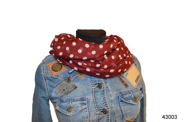 Весенний шарф снуд Алира бордовый 1