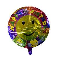 Шарик воздушный, фольгированный на палочке КРУГ HAPPY BIRTHDAY