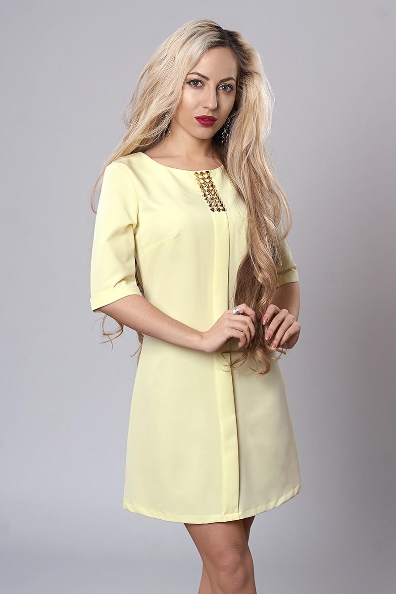 Платье мод. 281-2,размер 48 светло желтое