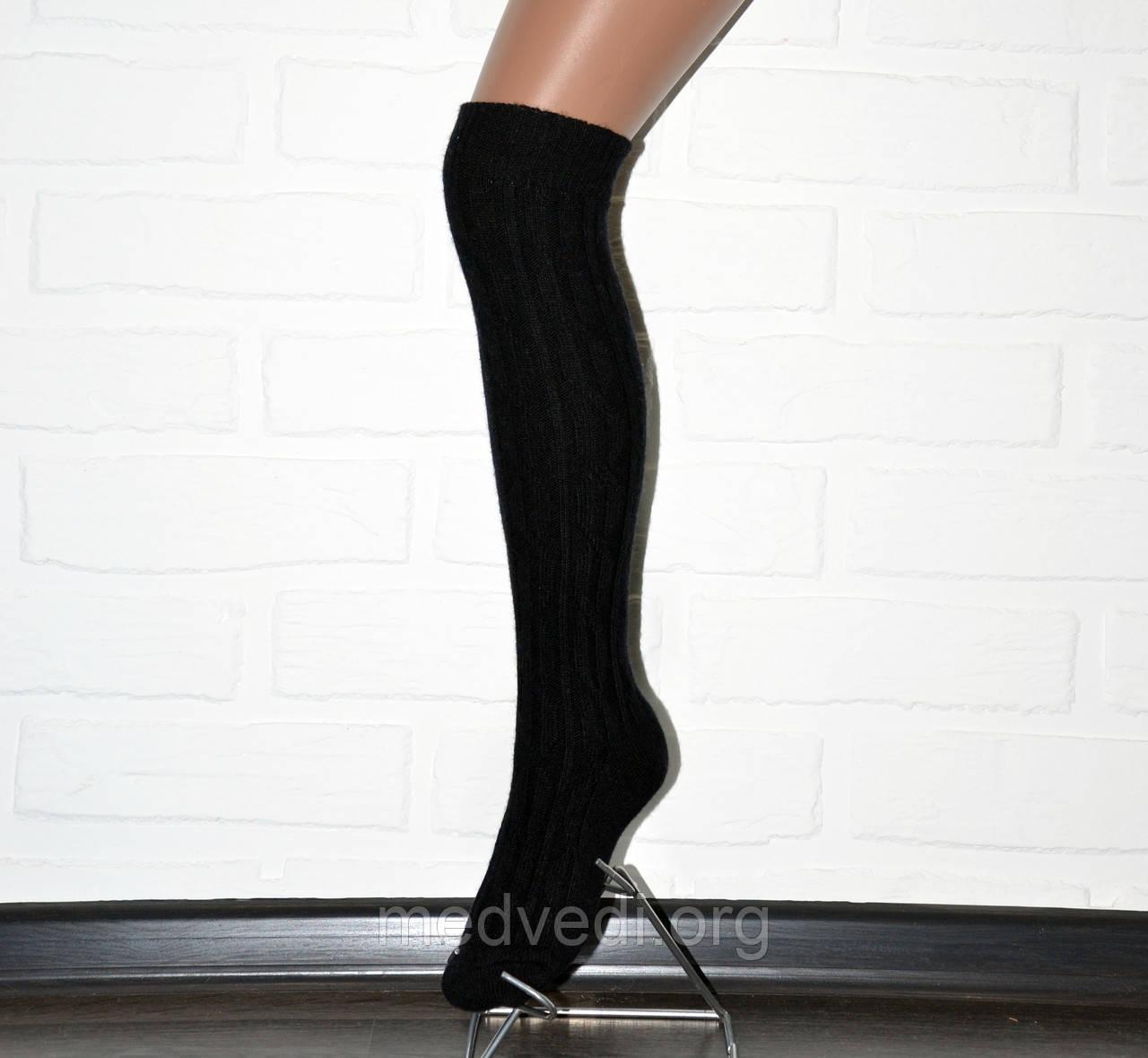 Черные женские гетры с носком, шерстяные гольфы до колена