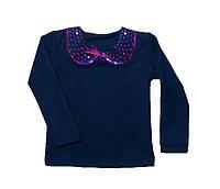 Джинсовая блуза на девочку с вышитым воротничком