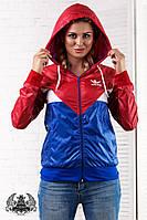 Куртка женская ветровка  с капюшоном  Ткань : плотная плащевка лак , подкладка - сетка спорт !  Логотип - Вышивка !!!  Цвет - комбинация красный -