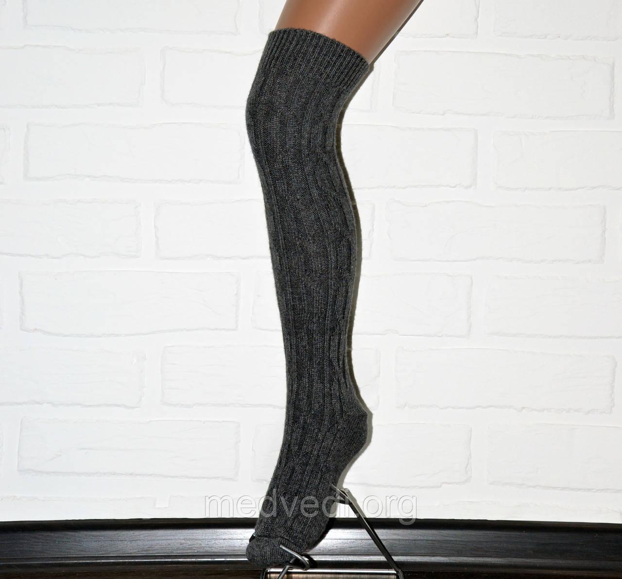 Серые женские гетры с носком, теплые шерстяные зимние гольфы до колена