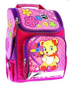 Ранец школьный ортопедический Мишка с цветами 7820-1