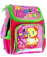Ранец школьный ортопедический Мишка с цветами 7820-3
