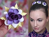 """Заколка цветок """"Гардения с листиками""""(1шт), фото 1"""