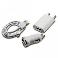 Автомобильная зарядка  iPhone 5/  iPhone6  Набор 12-24В+220В 1A коробка