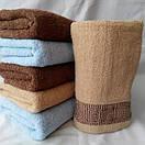 Махровые банные полотенца с отделкой квадратики, фото 2