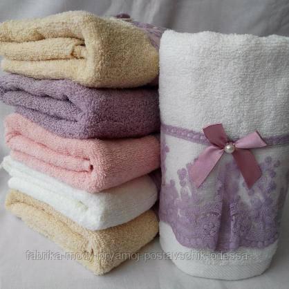 Махровые банные полотенца с кружевом и бантиком