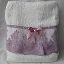 Махровые банные полотенца с кружевом и бантиком, фото 2