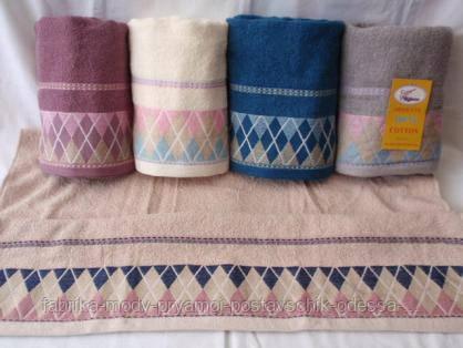 Махровые лицевые полотенца с принтом ромбики