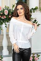 Белая Блуза с вырезом Анжелика
