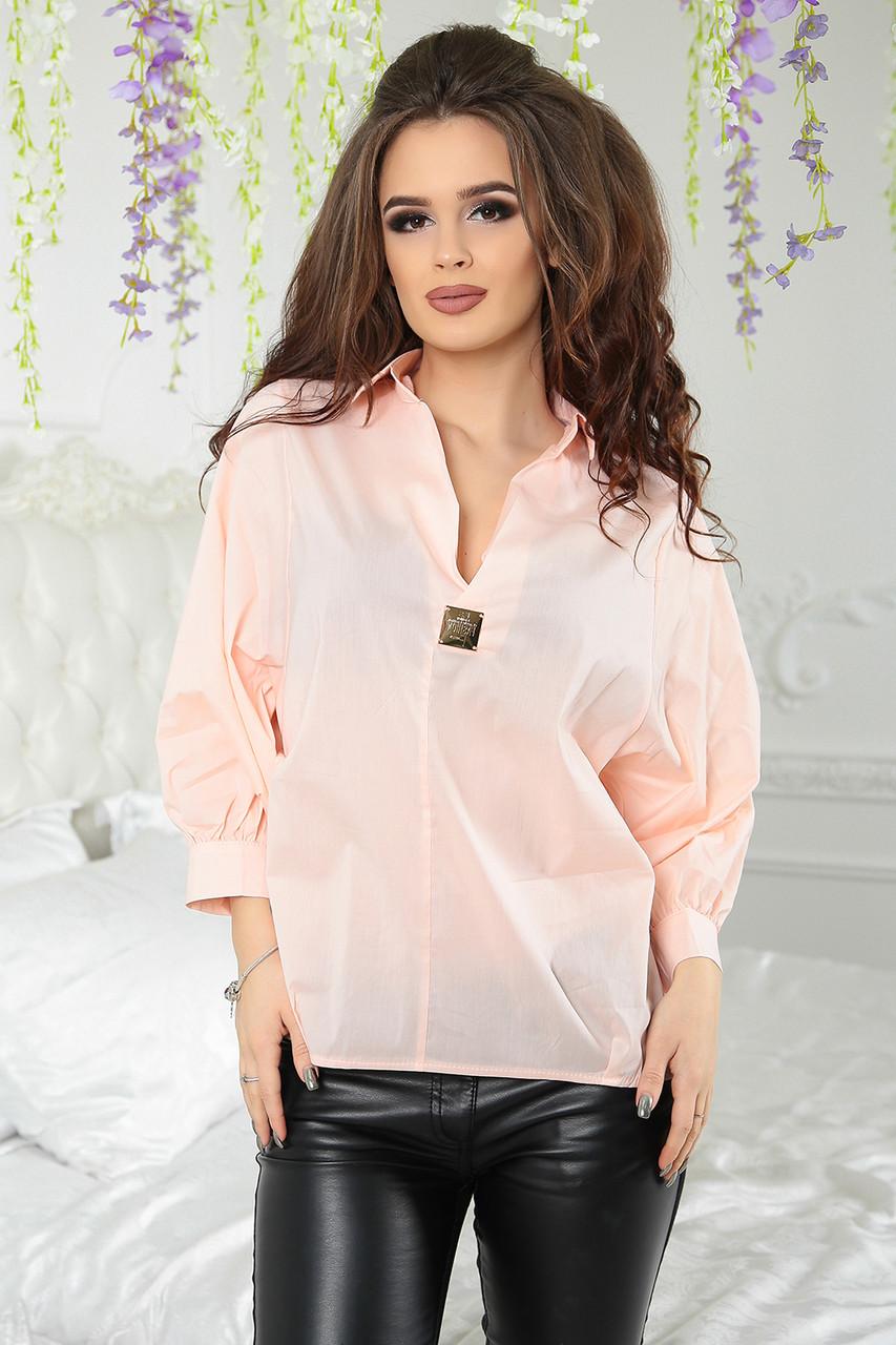 Блуза с рукавом баллон Джосет персиковая