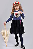 Нарядное оригинальное  платье трикотажное  для девочки Милочка размеры  128, 134, 140