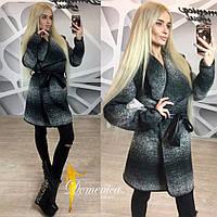 Женское модное твидовое пальто со вставками эко-кожи (+ большие размеры)