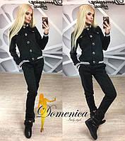 Женский красивый брючный замшевый костюм (5 цветов) + большие размеры чёрный, 46
