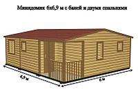 Садовый Домик 6х6,9м с баней и двумя спальнями
