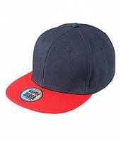 Крутая хлопковая кепка-реперка темно-синяя с красным козырьком