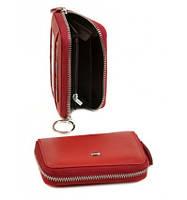 Кошелек женский ключница из натуральной  кожи, кошелек-ключница красный цвет