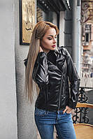 Женская куртка Размер 42-44 и 44-46 Ткань итальянская экокожа Длина изделия 60 см, рукав 62 см На рукаве рабочая змейка, куртка застёгивается на