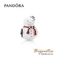 Pandora шарм СЧАСТЛИВЫЙ СНЕГОВИК #791406ENMX серебро 925 Пандора оригинал