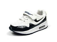 Детские черно-белые кроссовки J&G: B5125-21 для мальчиков р.26,27,28,29,30,31 с кожаной ортопед стелькой