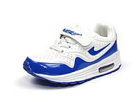 Детские белый-синий кроссовки J&G: B5125-37 для мальчиков р.26,27,28,29,30,31 с кожаной ортопед стелькой