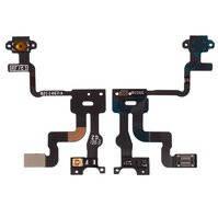 Шлейф для мобильного телефона Apple iPhone 4S, c датчиком приближения, кнопки включения, с компонентами