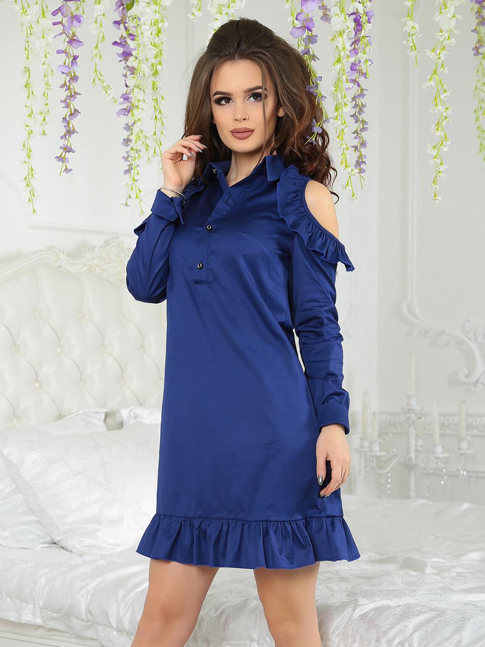 Платье с рубашечным воротником Кларис синее