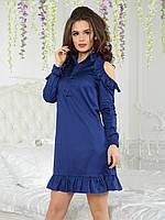Платье с рубашечным воротником Кларис синее, фото 1